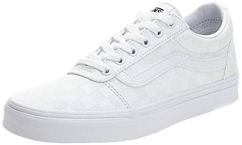 Vans Ward Canvas, Sneaker para Mujer, Blanco ((Checkerboard) White/White W51), 35 EU