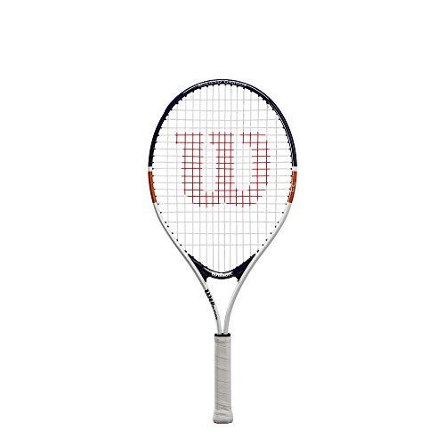 【Amazon.co.jp 限定】 Wilson(ウイルソン) 硬式 テニスラケット [ガット張り上げ済] ジュニアモデル ROLAND GARROS ELITE (ローランド ギャロス エリート) 23インチ (6~8歳向け) ホワイト/ネイビー/オレンジ WR038810H