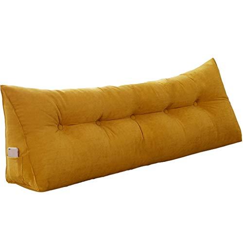 Dossier De Lit Triangulaire, Canapé Cale-Oreiller Canapé Sac Souple Lit Double Matelas Grand Coussin (11 Couleurs, 7 Tailles) 200 × 50CM (Color : Yellow, Size : 180×50cm)