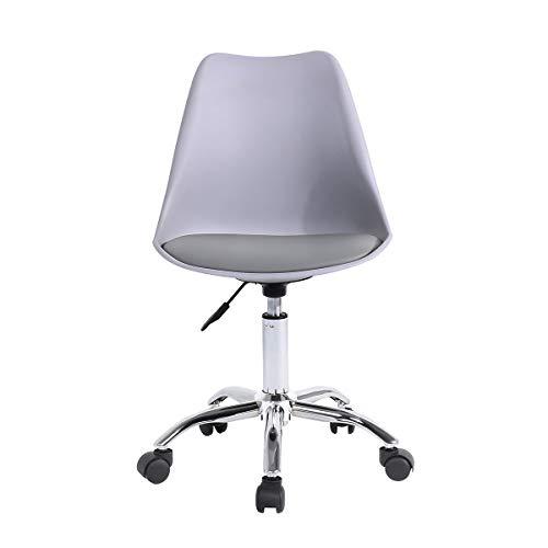 Grau Schreibtischstuhl mit Sitzkissen Bürostuhl Ohne Armlehne Arbeitshocker Drehstuhl Rollhocker Computerstuhl Office Chair Höhenverstellbar (Grau)