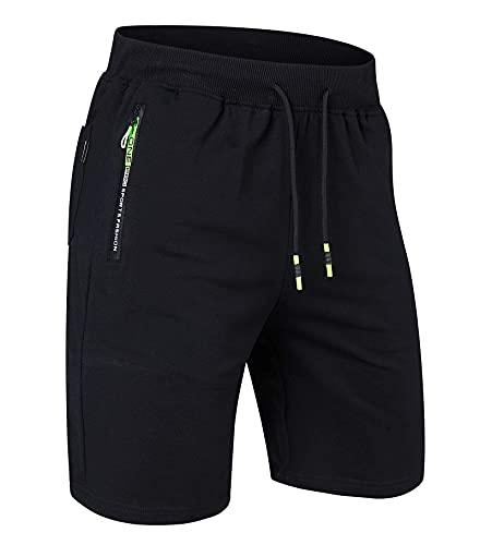 Belovecol Kurze Hosen Herren Shorts Sporthose Kurz Running Joggen Gym Sport Trainingshose mit Taschen, Schwarz, M