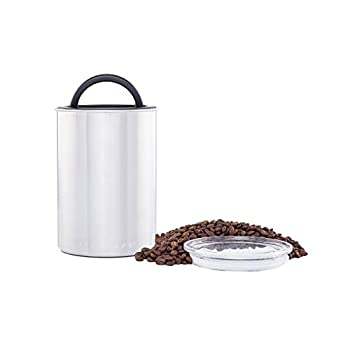 Airscape Coffee and Food Storage Canister - Patented Airtight Lid Preserve Food Freshness with Two Way Valve Stainless Steel Food Container Medium 7-Inch Can Brushed Steel