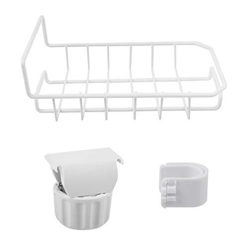 BESTonZON Wasserhahn Ablauf Lagerregal Kitchen Organizer Ablassen Regal Geschirrspülmittel Schwammhalter (Weiß)