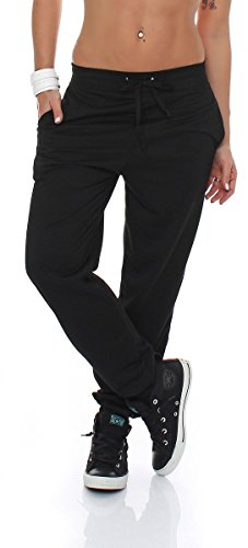 Malito Damen Jogginghose im Classic Look | Sporthose in Unifarben | Baggy zum Tanzen | Sweatpants - Trainingshose H1206 (schwarz, S)