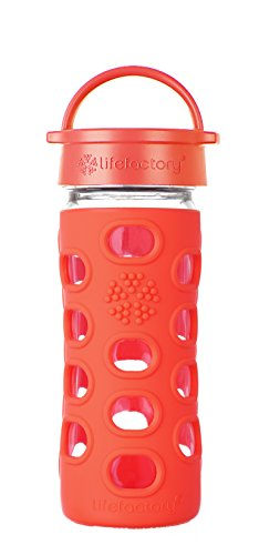 Lifefactory Flasche mit Deckel, klassisch, Glas, Orange, 350 ml