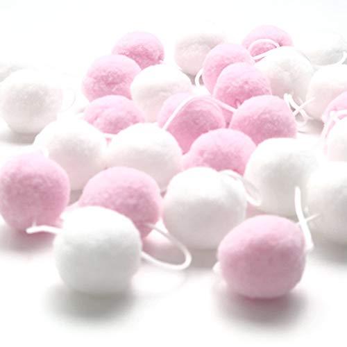 HpyAlwys 2 m Filzkugel, handgefertigt, mit Pompons, Schnur, Flauschige Bälle zum Aufhängen, für Kinderzimmer, Party, Wanddekoration Rosa/Weiß