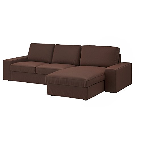 IKEA Genuine Slipcover for Kivik Sofa, Loveseat and with Chaise, Borred Dark Brown (Loveseat with Chaise)