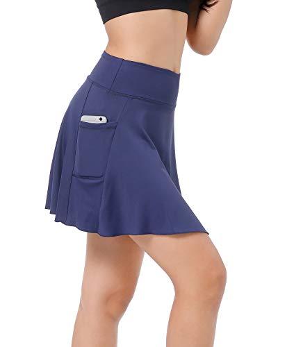 East Hong Damen-Tennisrock mit Tasche, leicht, Laufen, Sport, Golf, Rock mit Innenshorts, blau, Größe S