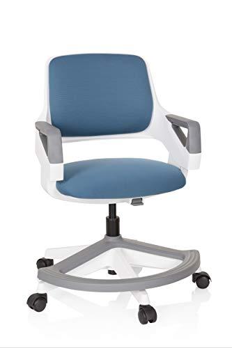 hjh OFFICE 640500 Kinder- und Jugendstuhl Kid Flex Stoff Blau mitwachsender Drehstuhl, Fußablage & Rückenlehne höhenverstellbar