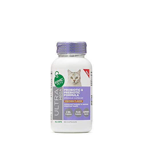 GNC Pets Ultra Mega Probiotic & Prebiotic Formula Sprinkle Capsules Supplement for Cats, 60 Count - Chicken Flavor | Advanced Formula to Maintain Intestinal Health (FF13804)