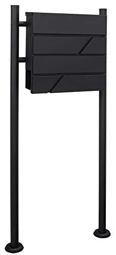 V2Aox staande brievenbus brievenbus zwart staal krantenrol vrijstaande keuze, selectie: 2 voet- rond.MB02