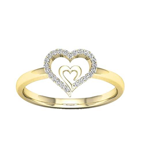 HIGOU Anillo de compromiso para mujer con diseño de corazón con diamantes de imitación, joyería creativa Love GIF (oro, 9)