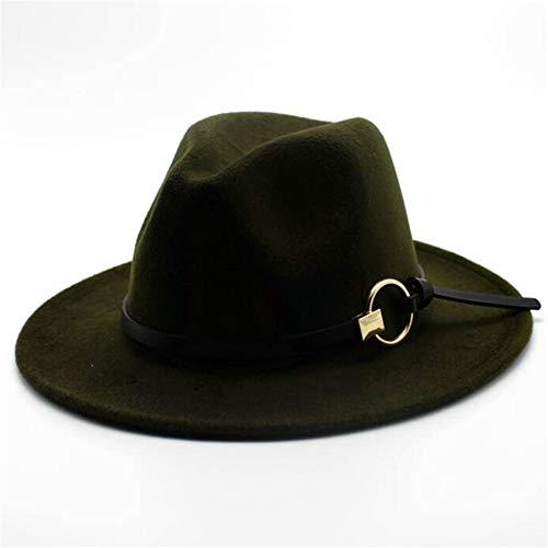 Duyani Hombres Mujeres Sombrero Fedora de Lana con Cinturón de Cuero Sombrero de Jazz Pop Sombrero de Iglesia de ala Ancha Sombrero de Fascinador Salvaje Casual Tamaño 56-58 CM