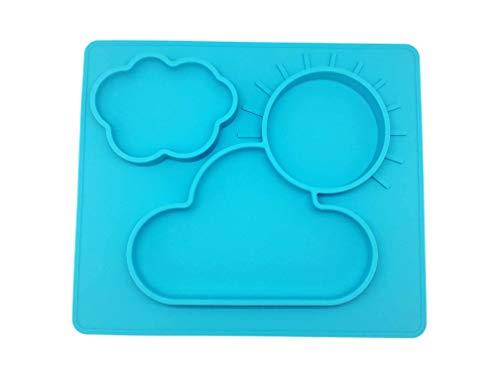 Silicona Sets de mesa, bandeja y fuerte ventosa para bebés, seguro No Tóxico Calidad Alimentaria, silicona, sin ftalatos, no Frágil, fácil clearning, azul