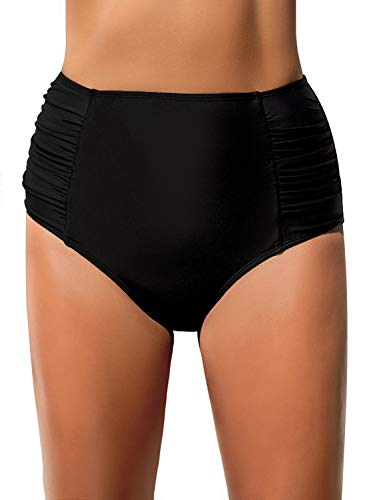 REKITA Women High Waisted Bikini Bottoms Ruched Swim Brief Short Tankinis Black