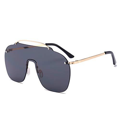 Europa y los Estados Unidos gafas de sol sin marco personalidad caja grande pieza del océano gafas siamesas gafas de sol marea marco de oro negro