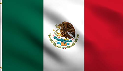DMSE Mexico Mexican MX Pride Flag 4X6 Ft Foot 100% Polyester 100D Flag UV Resistant (4' X 6' Ft Foot)