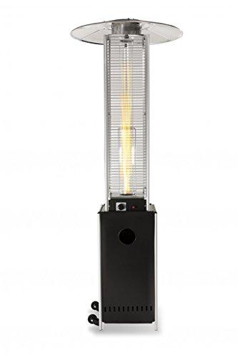 Heizpilz Heizstrahler Terrassenstrahler 'Optical Pro' schwarz matt: CE-zertifizierter Gasheizer mit elegantem Design robuster Stahl-Alu-Rahmen für stabilen Stand des Terrassenheizers Gesamthöhe 225 cm