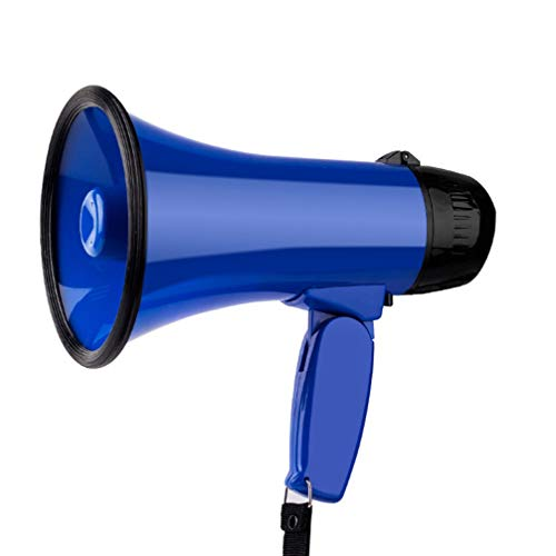 Garneck Megaphone Speaker Adjustable Volume for Football Soccer Baseball Hockey Basketball Cheerleading Fans Coaches Safety Drills (Blue)