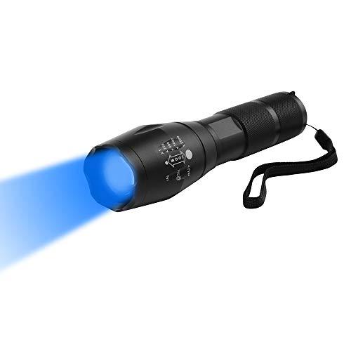 Linterna Luz Azul, WESLITE Linterna LED Azul 470nm Linternas Azul Con Zoom y 1 Modo de Largo Alcance para Pesca Nocturna Caza (Batería no Incluida)