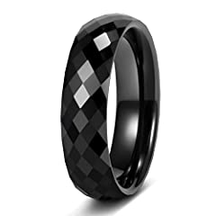 Specification: band width 4mm, 6mm, genuine ceramic ring, black ceramic classic high polished.No metal irritation, sturdy and resistant to scratches, never lose luster Stylish: ceramic black ring with multi faceted design, looks great on both men and...