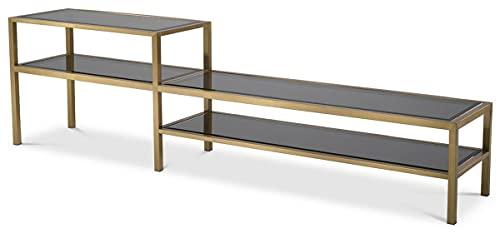 Casa Padrino Armario de TV de Lujo latón/Gris 230 x 45,5 x A. 65 cm - Aparador de Acero Inoxidable con Tapas de Vidrio Tintado - Muebles de salón de Lujo