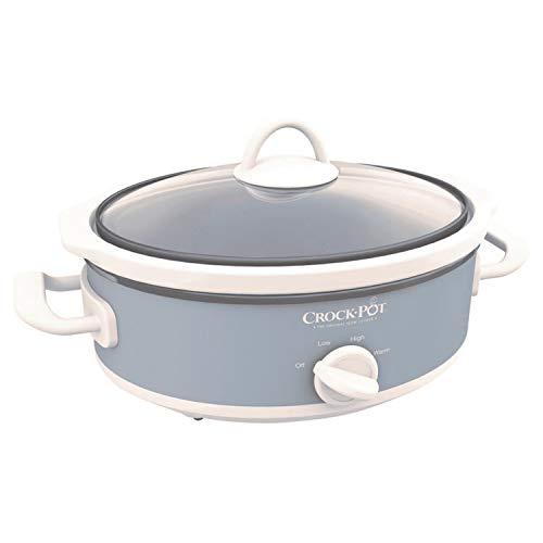 Yeslike Casserole Crock Mini Oval Slow Cooker, 2.5-Quart, Gray