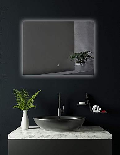 SOGOO® Miroir Salle de Bains avec Éclairage LED 80x60cm, Miroir Anti Buée, Lumière Blanc Naturelle 6500K (Modèle A 80x60 avec Anti Buée et Horloge)