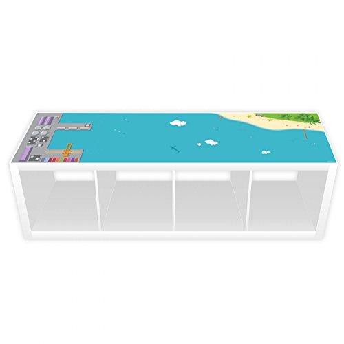Nikima - Película de juegos para estantería Kallax, puerto e isla, 145,5 x 38,5 cm de largo (muebles no incluidos)