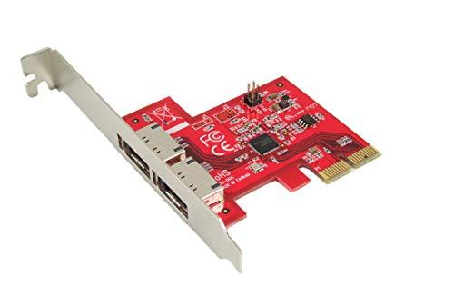 Ableconn PEX-SA130 2-Port eSATA III 6Gbps PCI-Express Two Lanes Host Adapterkarte – AHCI Port-Multiplier PCIe 2.0 x2 Controller-Karte – ASMedia ASM1062 Chipsatz