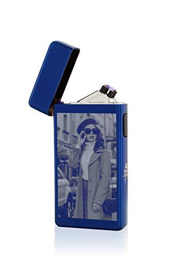 TESLA Lighter T13 Lichtbogen Feuerzeug, Plasma Double-Arc, elektronisch wiederaufladbar, aufladbar mit Strom per USB, mit Fotogravur, mit Ladekabel, in edler Geschenkverpackung Blau