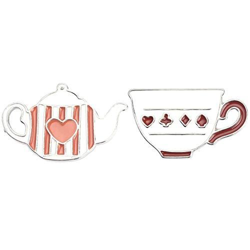 CoSunny Brosche und Kaffeetasse Anstecknadel 2-teiliges Set Emaille Brosche Anstecknadeln Zubehör Badges Geschenke