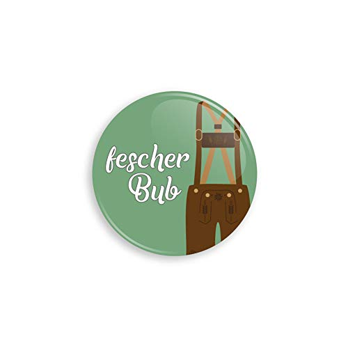 Werbewas Oktoberfest Buttons ALS Anstecker mit Nadel oder Magnet für Zuhause oder ALS Geschenk und Mitgebsel - Motiv Fescher Bub Lederhose - 38mm mit Nadelverschluss an der Rückseite