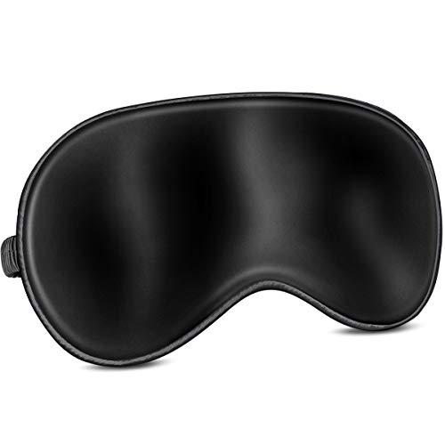 Unimi Silk Schlafmaske, 100% Natürliche Seiden-Augenmaske zum Schlafen mit Verstellbarem Riemen, Schlafmaske & Augenbinde mit Natürlicher Baumwolle, Augenmaske zum Reisen/Schlafen (Schwarz)