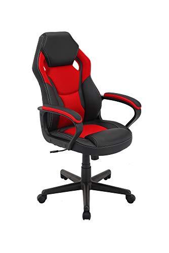 HOMEXPERTS Gaming Chair MANTA / Racing-Design mit Kunstleder und Netzstoff in Schwarz-Rot / Höhenverstellbar / Bis 110kg / Drehstuhl / Bürostuhl / Chefsessel / 60 x 103-113 x 65 cm (BxHxT)
