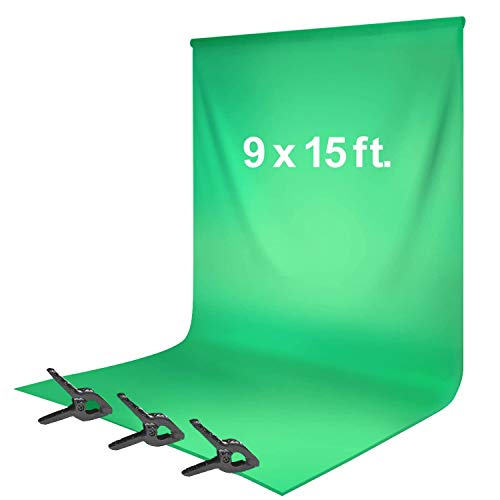 LimoStudio, Green Chromakey 9 x 15 ft. Background Screen, Soft and Seamless Silk Texture Backdrop Muslin with Spring Clamp, Photography, AGG1777