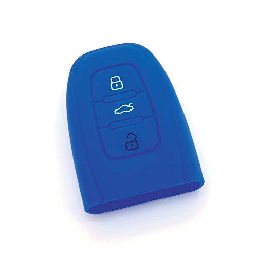 Housse de clé en silicone pour AUDI A1 A3 A4 A6 A5 A7 A8 Q3 Q5 Bleu Foncé