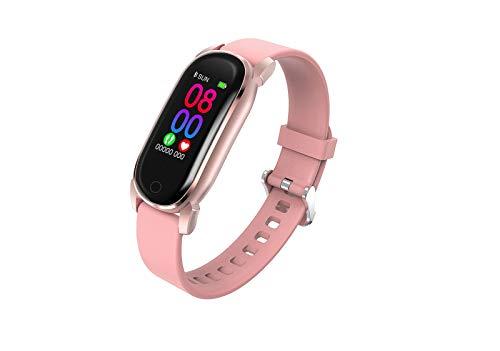 Women Smart Watch Bluetooth SmartWatch Hombres Ritmo Cardíaco Monitor De Presión Arterial GPS Running Track Smart Muñequera (Color : Pink)