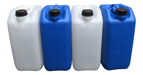 hogred 4 X 25 LITRE 25L NEW PLASTIC BOTTLE JERRY CAN WATER CONTAINER BLUE WHITE 4 patented eco-vent anti glug anti splash