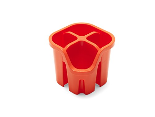 Addis Égouttoir à Couverts avec 4 Compartiments, Plastique, Orange Flamme, 14 x 14 x 13 cm