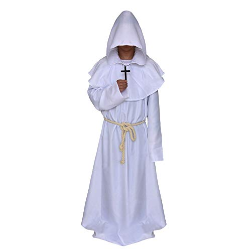 Men's Friar Medieval Hooded Monk Priest Tunic Robe Halloween Cosplay Cloak Costume (White M)