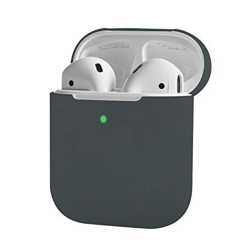 Silikonhülle Kompatibel mit Apple AirPods 1 & 2 (LED vorne sichtbar) - [Unterstützt kabelloses Laden][Perfekt Passt Hülle] -Grau