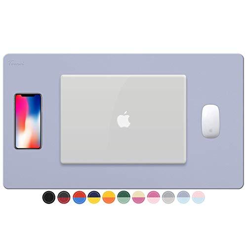 "TOWWI Dual Sided Desk Pad, 24"" x 14"" PU Leather Desk Mat, Waterproof Desk Blotter Protector Mouse Pad (Purple/Blue)"