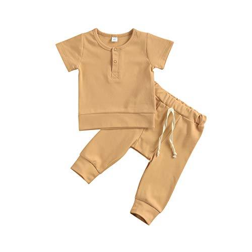 Unisex Baby Juge Mädchen 100% Baumwolle Kleidung Outfits Button Down Kurzarm T-Shirt/Top + Kordelzug Hose Pyjama Sommer Säugling Erstausstattung Set (Khaki, 3-6 Months)