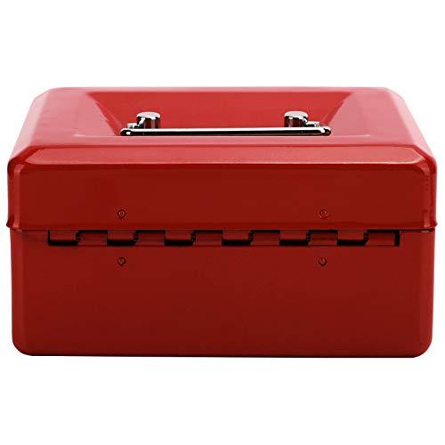 MAGFYLYDL Caja De Efectivo Rojo, Caja De Almacenamiento En Efectivo, Acero Inoxidable, Impermeable, con Cerradura, para Almacenamiento De Joyas, Almacenamiento De Relojes, Caja Fuerte En Efectivo