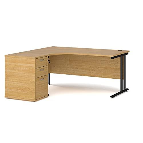 Maestro - Juego de 25 escritorios ergonómicos para mano izquierda y 3 cajones con patas voladizas negras, roble, 160 x 120 cm