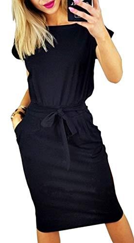 Longwu Vestido de Manga Corta Elegante de Las Mujeres para Trabajar el Vestido Ocasional del lápiz con la Correa