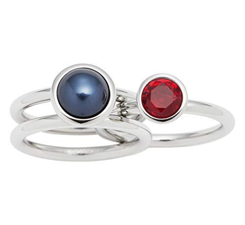 Jewels by Leonardo Damenring aus Edelstahl mit rotem und schwarzen Glasstein I Poliertes Fingerring Set, Silber I mehrteilig und individuell tragbar