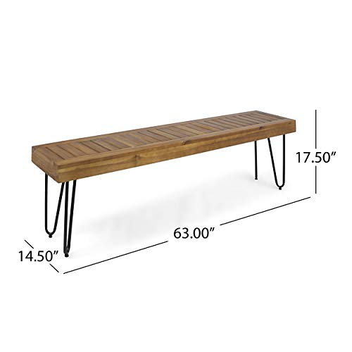Christopher Knight Home 304879 Abbet Outdoor Industrial Wood Bench, Teak/Black Metal