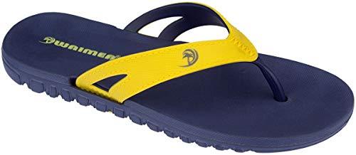 Weime Kinder Schuhe Zehentrenner Flip Flops Marineblau-gelb Gr.31